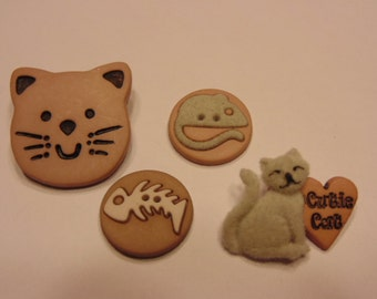 4 piece cats and more button mix, 20-30 mm (B4)