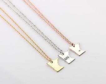 Dainty Minnesota Necklace, Minnesota State Necklace, University of Minnesota, State Necklace, Gold Minnesota Bracelet, Best Friends