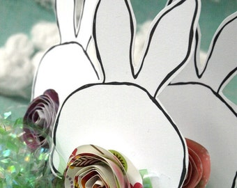 Bunny Rabbits | Bunny Butts  - three paper bunny accents with paper rose tails