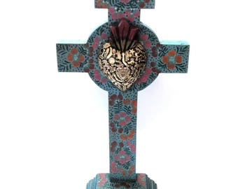 """Milagros Cross with Black Sacred Heart XLG 23"""" Mexican Milagro Charms"""