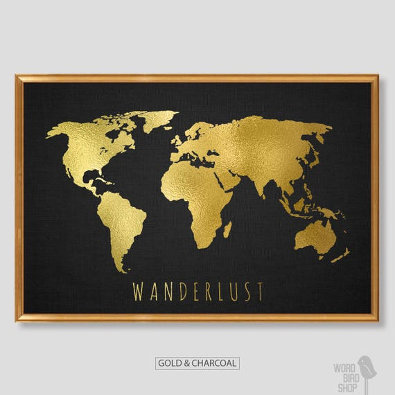 Chic gold world map world map print black and gold home like this item sciox Gallery
