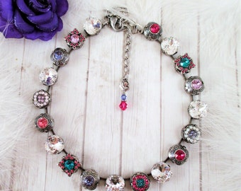 """Swarovski crystal necklace, """"Queen of Denial"""", Cup chain necklace,Floral necklace, Embellished necklace,Statement necklace"""