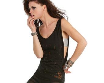 Sleeveless yoga vest, black jersey vest, v neck fox top, deep armhole shirt, fox in the rain, gift for her