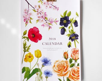 2018 Floral Wall Calendar