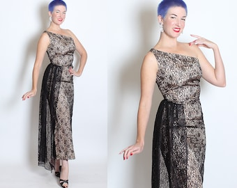"BOMBSHELL 1950's Black Floral Lace Over Nude Satin One Shoulder Hourglass Risque ""Illusion"" Evening Gown w/ Draped Lace Side Sash - Size S"