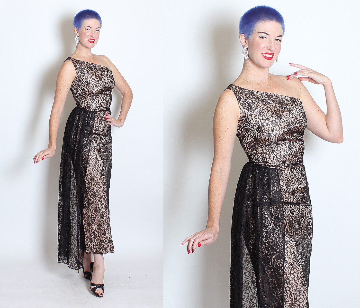 BOMBSHELL 1950's Black Floral Lace Over Nude Satin One Shoulder Hourglass Risque