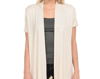 Short Sleeve Open Front Vest Cream