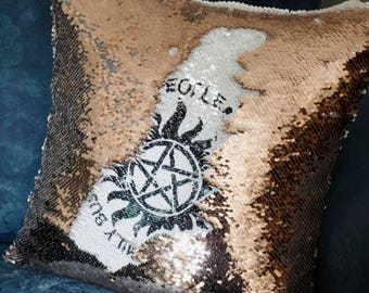 Saving People,  Hunting Things, The Family Business,  Supernatural, Supernatural Decor, SPN, Hidden Message,  Mermaid Cushion