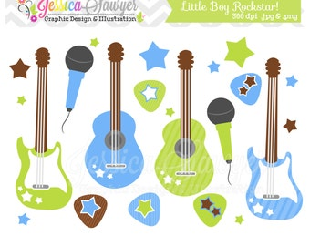 INSTANT DOWNLOAD,  Little boy rockstar clip art - guitar clipart - baby shower graphics - digital scrapbook - invitation - stars