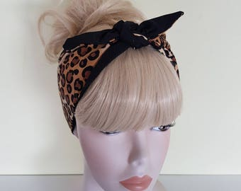 leopard 50s style blk bandana, rockabilly pin up psychobilly tattoo hairband headband