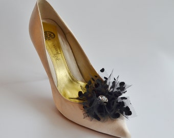 Black Tulle With Dots Flowers Shoe Clips Set of two