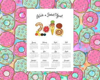 Have A Sweet Year! 2018 Sweet Treats Theme 12 Month Poster Calendar / Kawaii Calendar / Wall Calendar / 2018 Planner Calendar