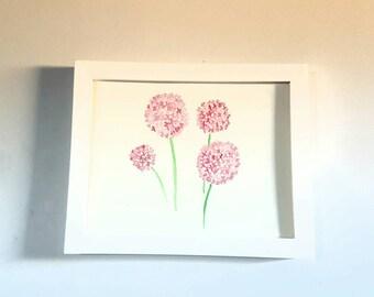 Pink Wildflowers - Watercolor - Original