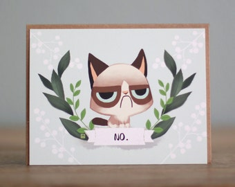 Grumpy Kitten Note Card set of 5