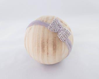 Knit Bow with silk headband, newborn photography prop Newborn Photography Prop, Photo Prop, Knit Bonnet