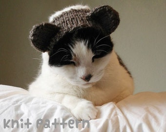 KNITTING PATTERN - Pet Hat Costume - PDF Instant Download - Teddy Bear Cat - Cute Halloween Disguise