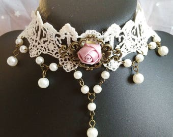 """Gothic necklace """"Beautiful bride"""" lace and pearls"""