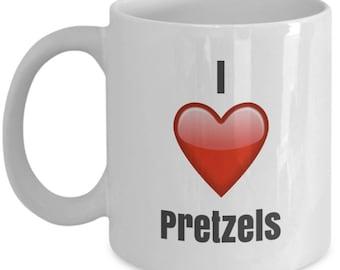 I Love Pretzels, Pretzel Mug, Pretzel Coffee Mug, Pretzel Gifts, Pretzel Lover Gift, Funny Coffee mug