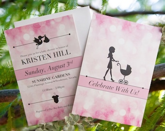 Pink Glamour Baby Shower Invitation: Girl