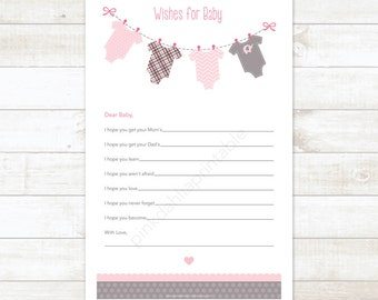 wishes for baby baby girl shower printable game DIY pink baby clothes hanger baby girl digital shower games - INSTANT DOWNLOAD
