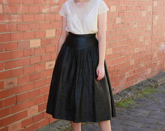 Vintage Black LEATHER Ballerina Skirt / Patchwork Leather Skirt / Full Skirt / S