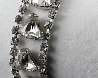 Vintage 1950s Signed Joseph Wiesner NY Bell Cut Rhinestone Crystal Bracelet