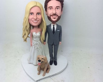 Custom Wedding Topper With Pets Personalized Wedding Cake Topper Clay Figurine Based on Customers' Photo Cake Topper Wedding Gift Decoration