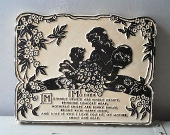 Mom Silhouette Chalkware Plaque ~ Mothers Day Poem Vintage Retro Wall Art  / 0677