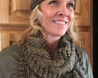 Sable and Cream Crocheted Beanie With Granite Cable Knit Scarf