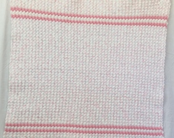 Baby Afghan Crochet Pink & White