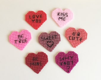 Message Sweet Heart Magnets Set of 7 Plastic Canvas Heart Magnet Set