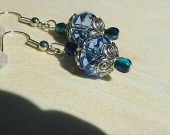 Clear Blue Austrian Crystal Earrings (E85)
