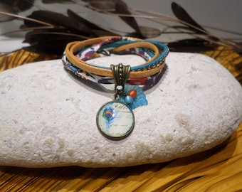 Bracelet cabochon cord turquoise Peacock feather fancy bronze flower liberty retro women teen gift