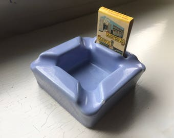 1940's Stoneware Periwinkle Blue Ashtray with Match Holder Vintage made in USA Matchbook Collection