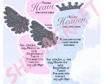 Heaven Sent Baby Shower Invitations