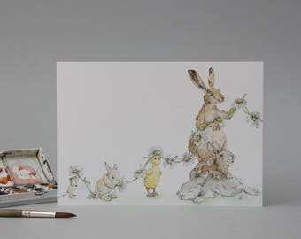 Hand Illustrated Easter Card: Spring Bunnies Daisy Chain