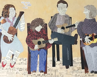 Playing Together for the Joy of Music - original mixed media collage