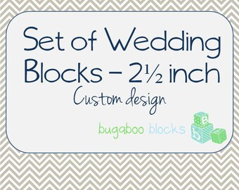 Wedding Mr. & Mrs. Blocks - Set of 3 (2.5 inch blocks) - Head Sweetheart Table Decoration - Centerpiece Accent