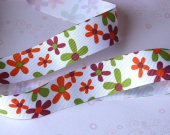 ON SALE! Orange, Purple and Olive Flowers Print Grosgrain Ribbon in 7/8-inch Width 1 Yard