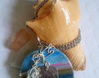 Küste Mischung Polymer Clay Herz-Anhänger mit Strand / Meer
