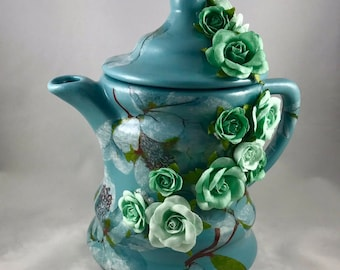 Teal, Large, Shabby Chic Decorative Teapot with Cascading Flowers