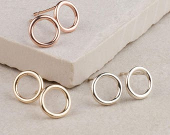 Circle Studs | Gold Circle Studs | Silver Circle Earrings | Simple Gold Earrings | Anniversary Gift For Her | Simple Silver Studs | Orkney