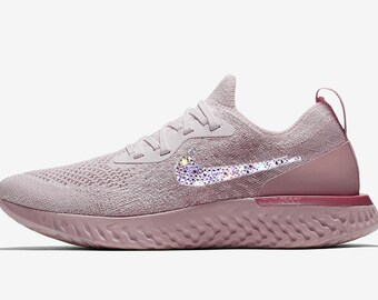 crystal Nike Epic React Flyknit Bling Shoes with Swarovski Crystals Women's  Running Shoes Pink Beam