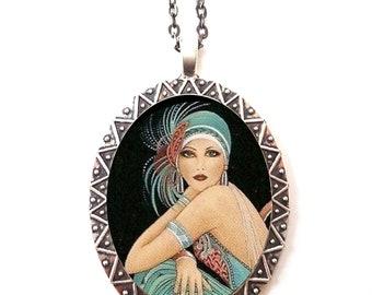 Flapper Showgirl Necklace Pendant Silver Tone - Art Deco 1920's Jazz Age Dancers Follies
