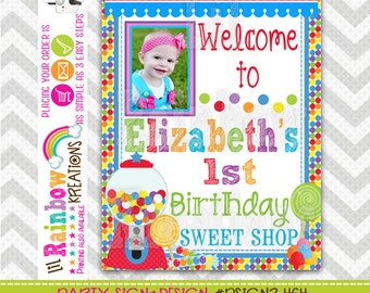 PSIGN2-464: DIY - Cute Candy Shop 2 Party Sign