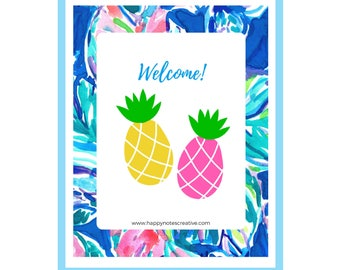 """Lilly Pulitzer Print Inspired Pineapple Wall Print 8""""x10"""" Printable Wall Art-Lilly Printables -  Dorm Print Decor - INSTANT DOWNLOAD"""