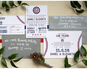 Cubs Wedding Baseball Ticket Invitation Set