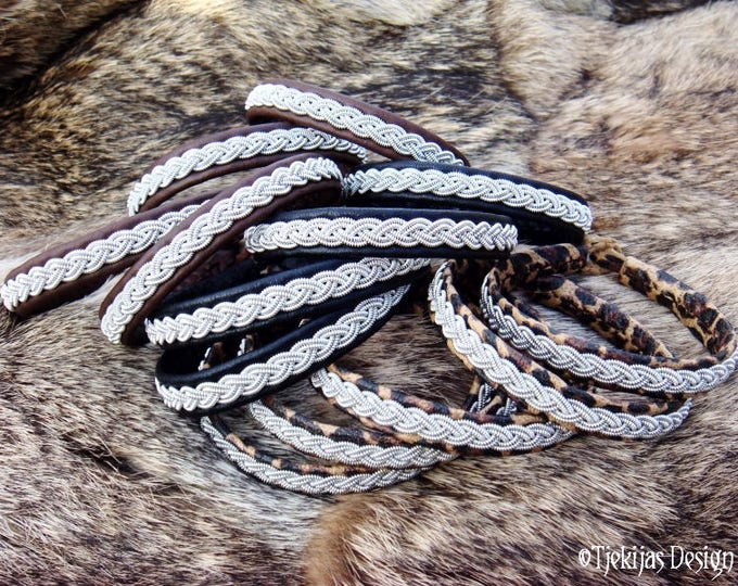 Sami Viking Bracelet LIDSKJALV Women and Mens Cuff Bracelet in Reindeer Leather or Lambskin in Your Color and Size
