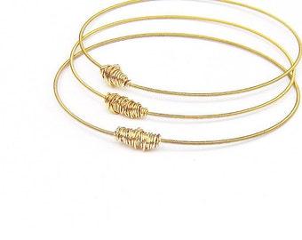 Gold Bangle Bracelets // Set of 3 Bracelets // Guitar String Bracelet Stack // Recycled Eco-Friendly Jewelry // Bridesmaid Gift // Music