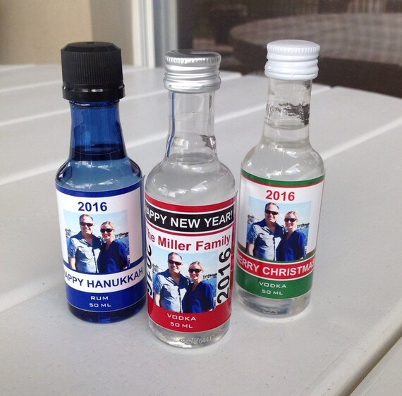 Personalized Holiday Mini Liquor Bottle Labels Party Favor